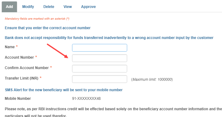 Intra Bank Beneficiary add