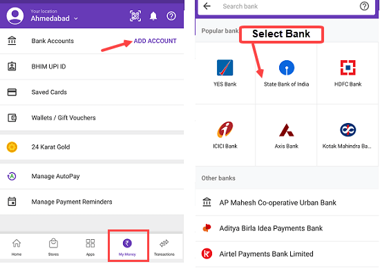 Phonepe add bank account