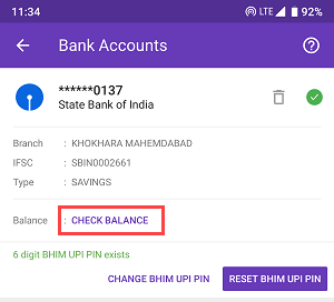 PhonePe check Bank account balance