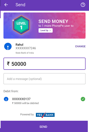 Phonepe send money to bank account