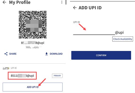 BHIM create UPI ID