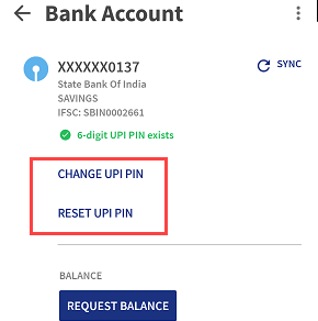BHIM change reset UPI PIN