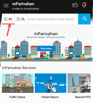 mParivahan DL RC online